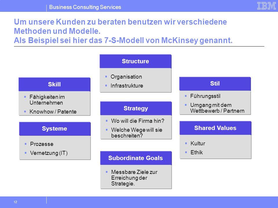 Business Consulting Services 12 Um unsere Kunden zu beraten benutzen wir verschiedene Methoden und Modelle. Als Beispiel sei hier das 7-S-Modell von M