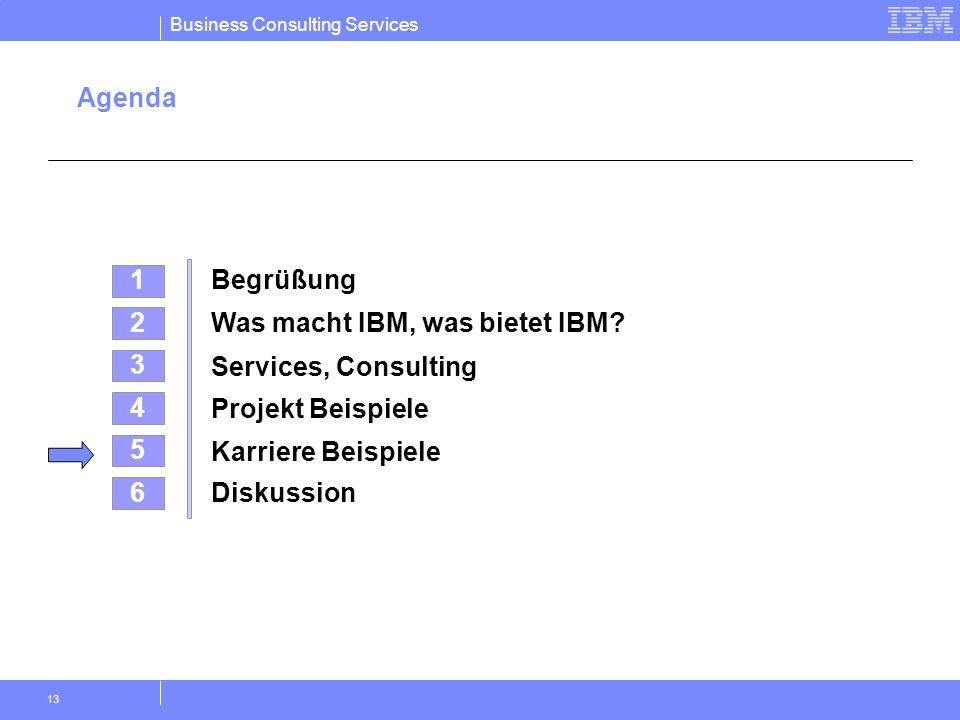 Business Consulting Services 13 Agenda 4 Projekt Beispiele 2 Was macht IBM, was bietet IBM? 5 Karriere Beispiele 3 Services, Consulting 1 Begrüßung 6