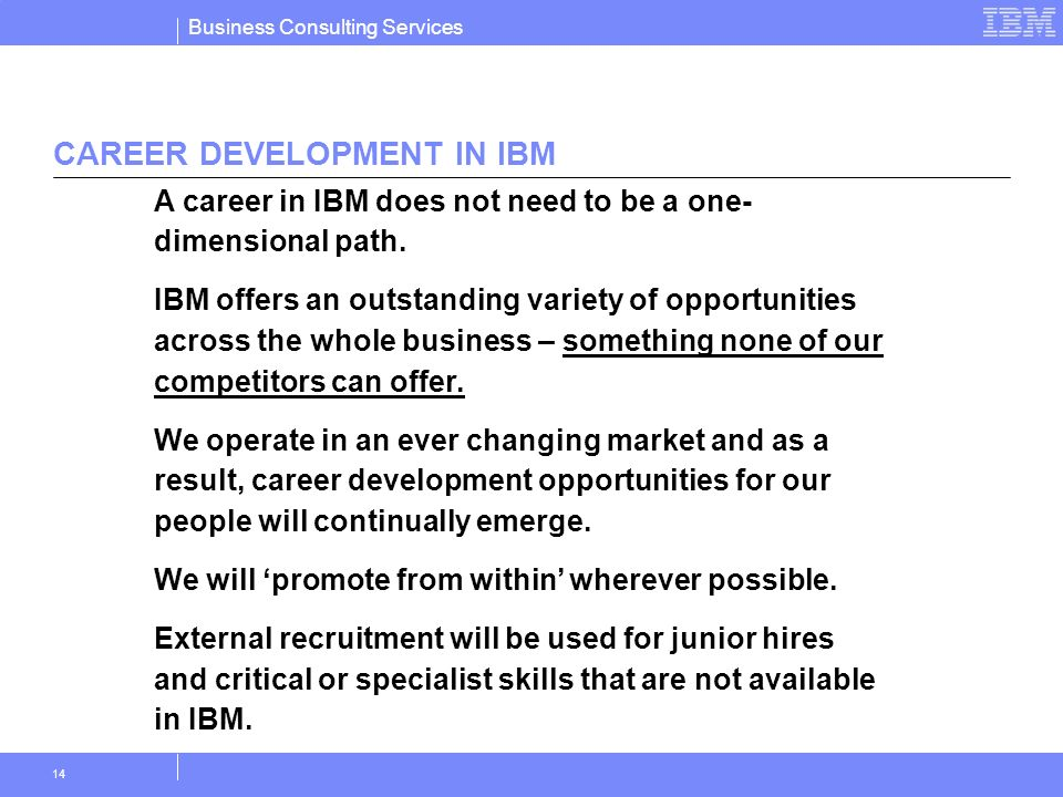 Business Consulting Services 14 CAREER DEVELOPMENT IN IBM A career in IBM does not need to be a one- dimensional path. IBM offers an outstanding varie