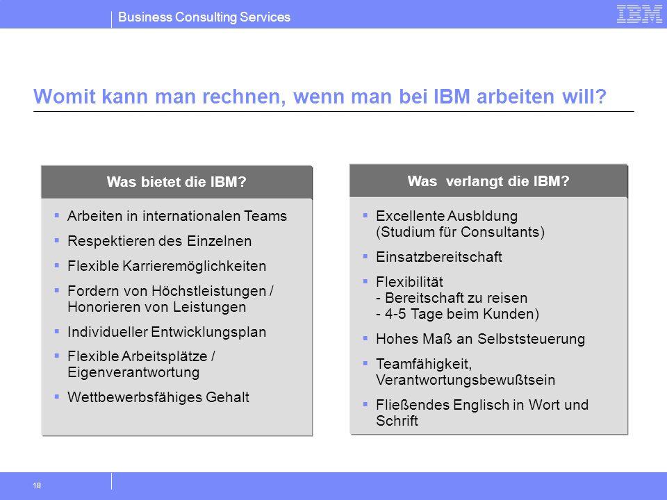 Business Consulting Services 18 Womit kann man rechnen, wenn man bei IBM arbeiten will? Was bietet die IBM? Arbeiten in internationalen Teams Respekti