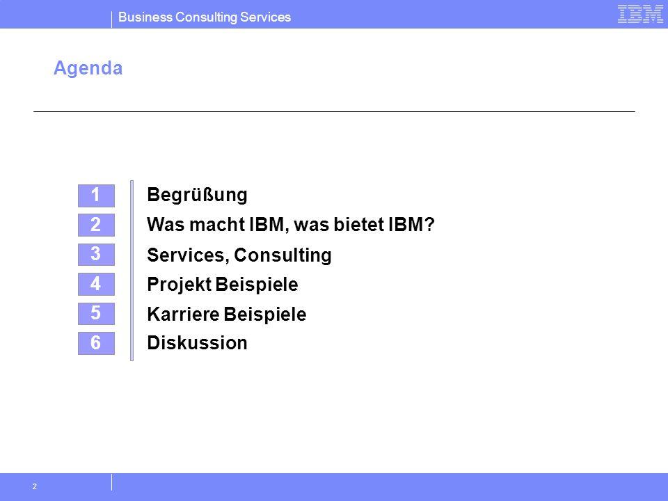 Business Consulting Services 2 Agenda 4 Projekt Beispiele 2 Was macht IBM, was bietet IBM? 5 Karriere Beispiele 3 Services, Consulting 1 Begrüßung 6 D
