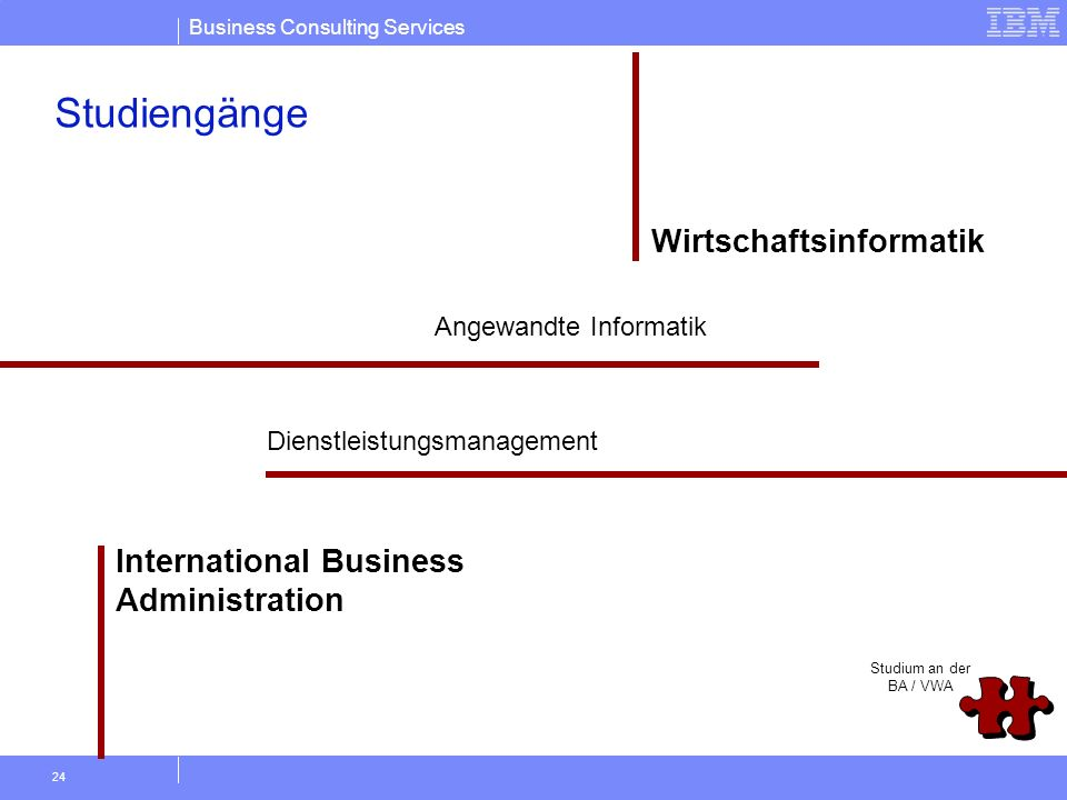 Business Consulting Services 24 Angewandte Informatik Wirtschaftsinformatik Studium an der BA / VWA International Business Administration Studiengänge
