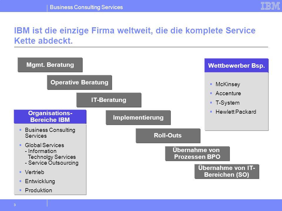Business Consulting Services 3 Mgmt. Beratung IBM ist die einzige Firma weltweit, die die komplete Service Kette abdeckt. Operative Beratung IT-Beratu
