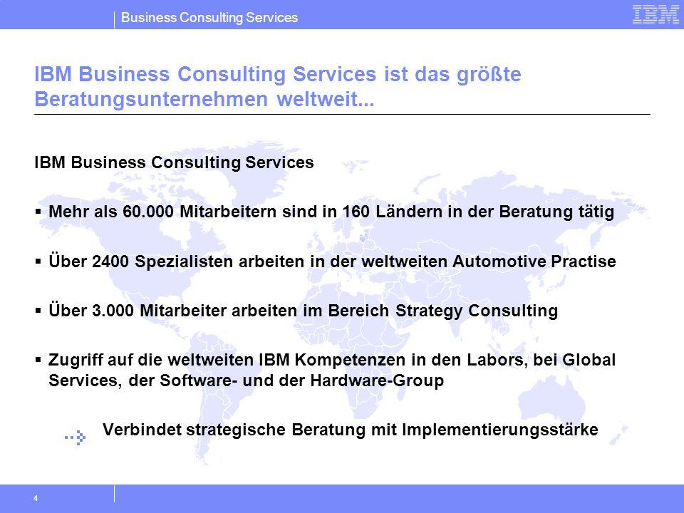 Business Consulting Services 4 IBM Business Consulting Services Mehr als 60.000 Mitarbeitern sind in 160 Ländern in der Beratung tätig Über 2400 Spezi