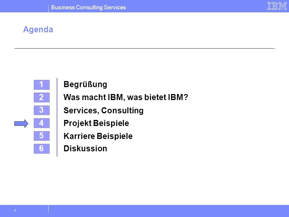 Business Consulting Services 7 Agenda 4 Projekt Beispiele 2 Was macht IBM, was bietet IBM? 5 Karriere Beispiele 3 Services, Consulting 1 Begrüßung 6 D
