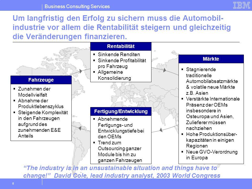 Business Consulting Services 8 Um langfristig den Erfolg zu sichern muss die Automobil- industrie vor allem die Rentabilität steigern und gleichzeitig