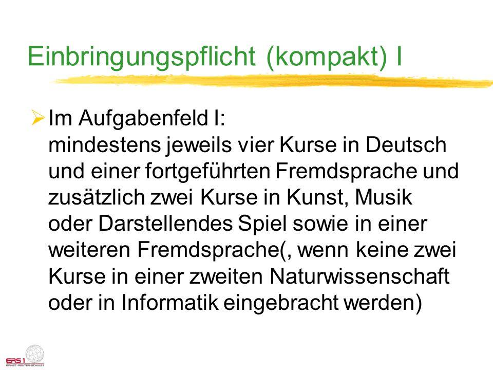 Einbringungspflicht (kompakt) I Im Aufgabenfeld I: mindestens jeweils vier Kurse in Deutsch und einer fortgeführten Fremdsprache und zusätzlich zwei K