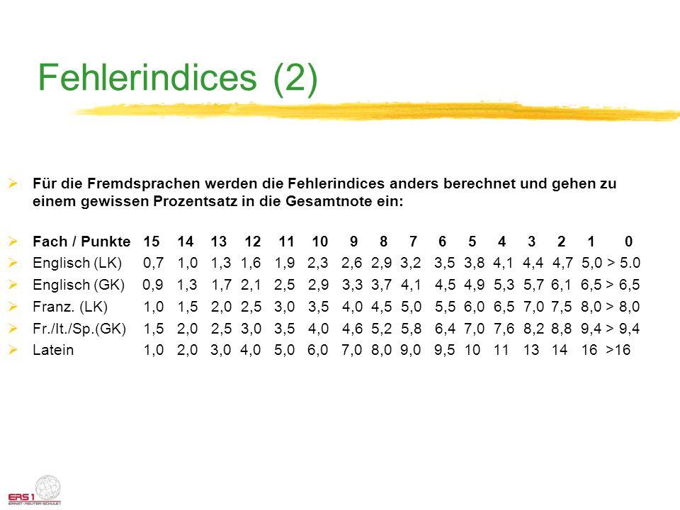 Fehlerindices (2) Für die Fremdsprachen werden die Fehlerindices anders berechnet und gehen zu einem gewissen Prozentsatz in die Gesamtnote ein: Fach