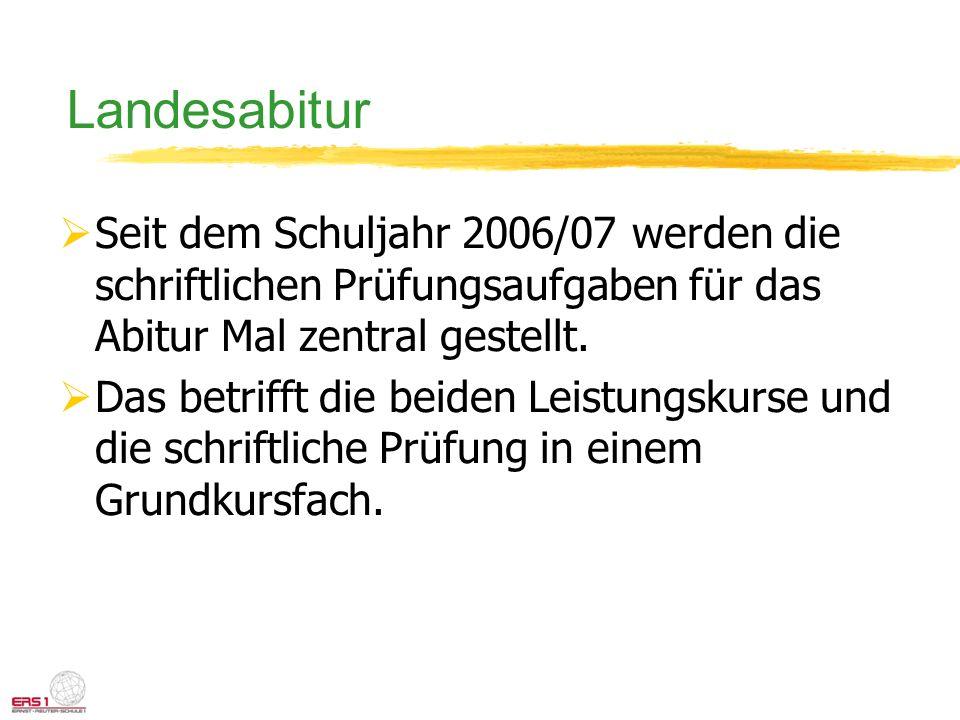 Landesabitur Seit dem Schuljahr 2006/07 werden die schriftlichen Prüfungsaufgaben für das Abitur Mal zentral gestellt. Das betrifft die beiden Leistun