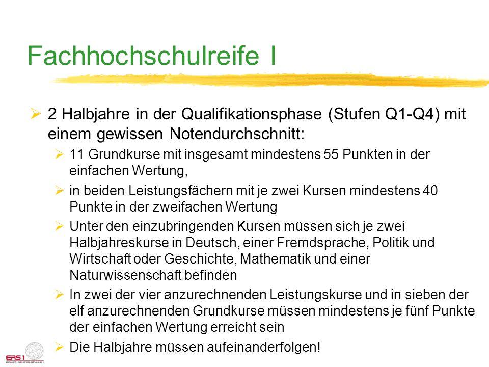 Fachhochschulreife I 2 Halbjahre in der Qualifikationsphase (Stufen Q1-Q4) mit einem gewissen Notendurchschnitt: 11 Grundkurse mit insgesamt mindesten