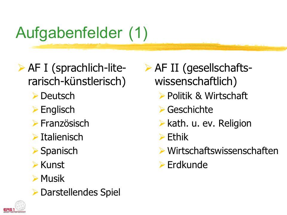 Aufgabenfelder (1) AF I (sprachlich-lite- rarisch-künstlerisch) Deutsch Englisch Französisch Italienisch Spanisch Kunst Musik Darstellendes Spiel AF I