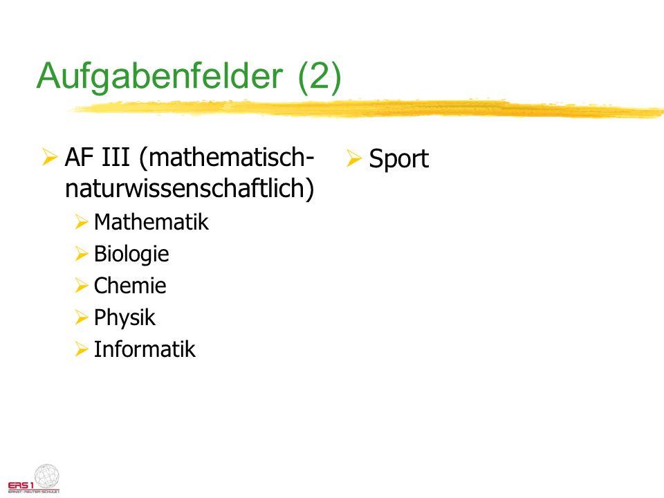 Aufgabenfelder (2) AF III (mathematisch- naturwissenschaftlich) Mathematik Biologie Chemie Physik Informatik Sport