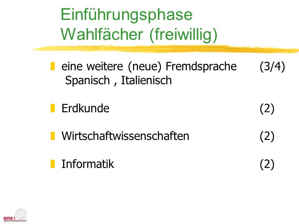 Einführungsphase Wahlfächer (freiwillig) zeine weitere (neue) Fremdsprache(3/4) Spanisch, Italienisch zErdkunde (2) zWirtschaftwissenschaften(2) zInfo