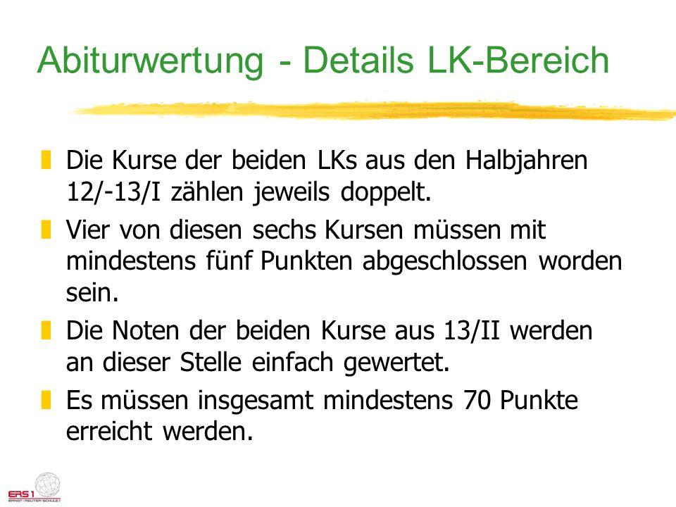 Abiturwertung - Details LK-Bereich zDie Kurse der beiden LKs aus den Halbjahren 12/-13/I zählen jeweils doppelt. zVier von diesen sechs Kursen müssen