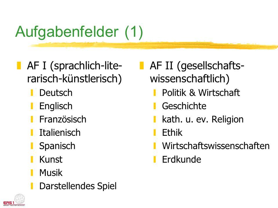 Aufgabenfelder (1) zAF I (sprachlich-lite- rarisch-künstlerisch) yDeutsch yEnglisch yFranzösisch yItalienisch ySpanisch yKunst yMusik yDarstellendes S
