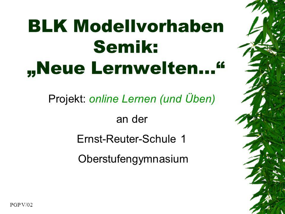PGP V/02 BLK Modellvorhaben Semik: Neue Lernwelten...