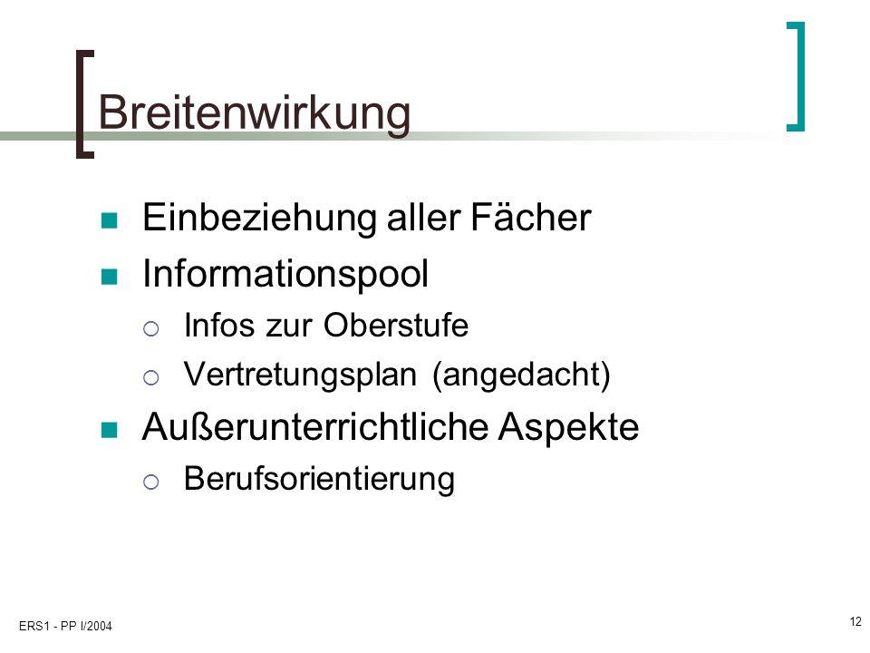 ERS1 - PP I/2004 12 Breitenwirkung Einbeziehung aller Fächer Informationspool Infos zur Oberstufe Vertretungsplan (angedacht) Außerunterrichtliche Aspekte Berufsorientierung