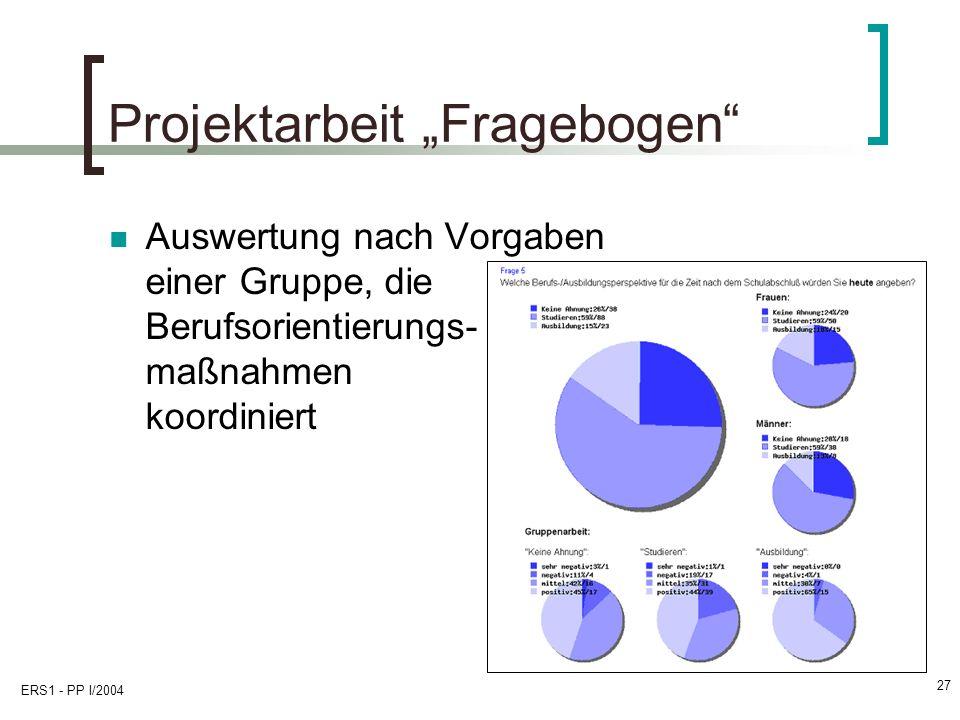 ERS1 - PP I/2004 27 Projektarbeit Fragebogen Auswertung nach Vorgaben einer Gruppe, die Berufsorientierungs- maßnahmen koordiniert