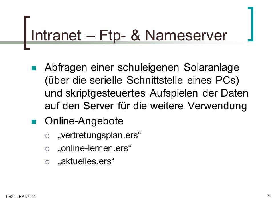 ERS1 - PP I/2004 28 Intranet – Ftp- & Nameserver Abfragen einer schuleigenen Solaranlage (über die serielle Schnittstelle eines PCs) und skriptgesteuertes Aufspielen der Daten auf den Server für die weitere Verwendung Online-Angebote vertretungsplan.ers online-lernen.ers aktuelles.ers