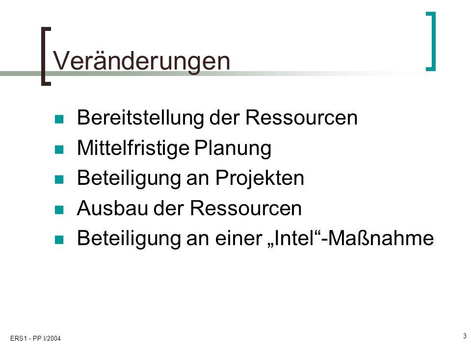 ERS1 - PP I/2004 3 Veränderungen Bereitstellung der Ressourcen Mittelfristige Planung Beteiligung an Projekten Ausbau der Ressourcen Beteiligung an ei