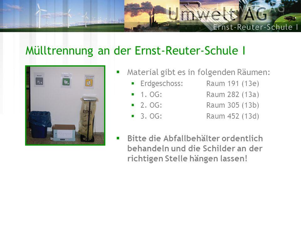 Mülltrennung an der Ernst-Reuter-Schule I Material gibt es in folgenden Räumen: Erdgeschoss:Raum 191 (13e) 1. OG:Raum 282 (13a) 2. OG:Raum 305 (13b) 3