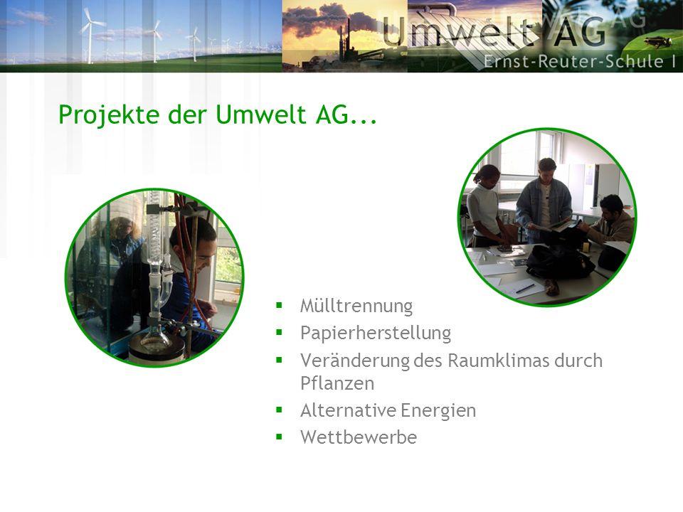 Projekte der Umwelt AG... Mülltrennung Papierherstellung Veränderung des Raumklimas durch Pflanzen Alternative Energien Wettbewerbe