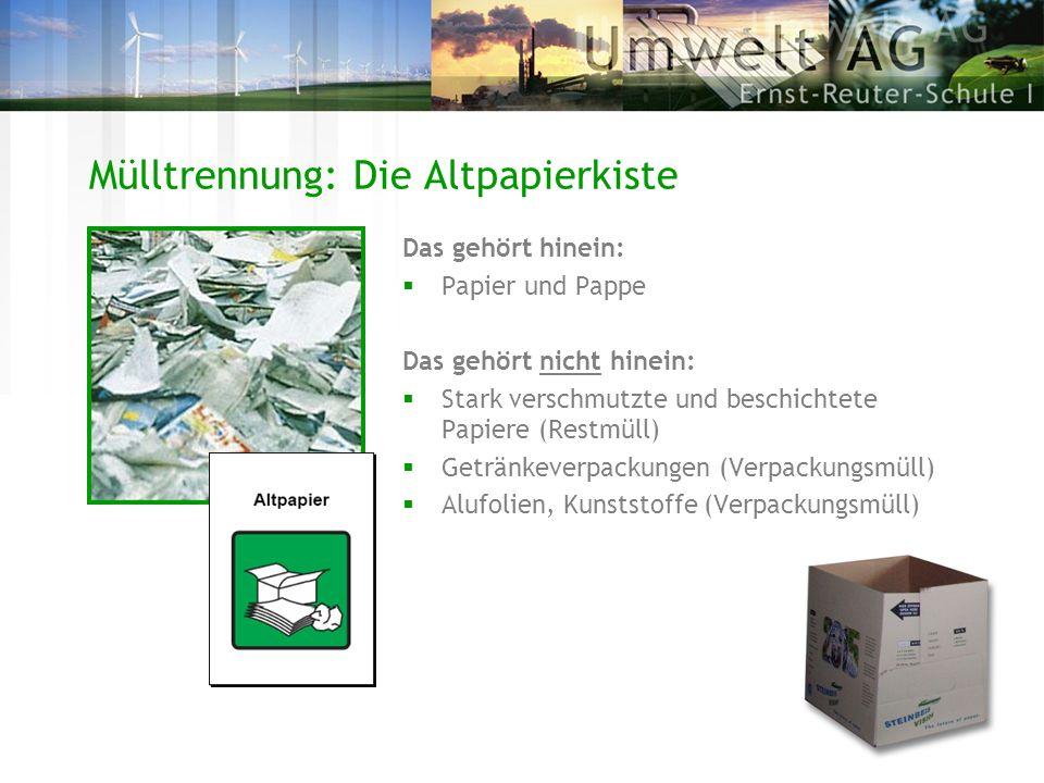 Mülltrennung: Die Altpapierkiste Das gehört hinein: Papier und Pappe Das gehört nicht hinein: Stark verschmutzte und beschichtete Papiere (Restmüll) G