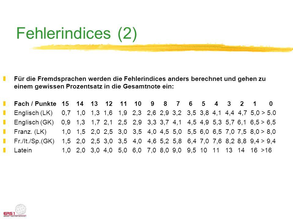 Fehlerindices (2) zFür die Fremdsprachen werden die Fehlerindices anders berechnet und gehen zu einem gewissen Prozentsatz in die Gesamtnote ein: zFac