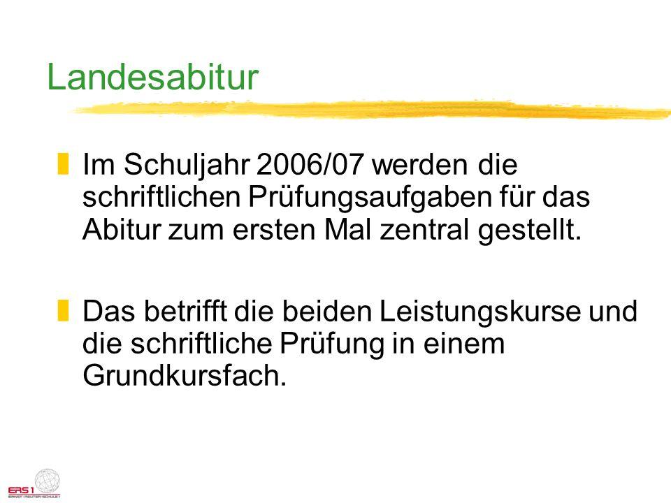 Landesabitur zIm Schuljahr 2006/07 werden die schriftlichen Prüfungsaufgaben für das Abitur zum ersten Mal zentral gestellt. zDas betrifft die beiden