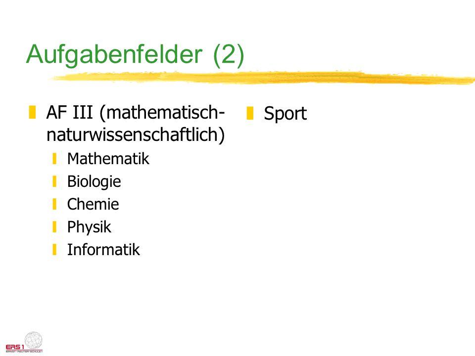 Aufgabenfelder (2) zAF III (mathematisch- naturwissenschaftlich) yMathematik yBiologie yChemie yPhysik yInformatik zSport