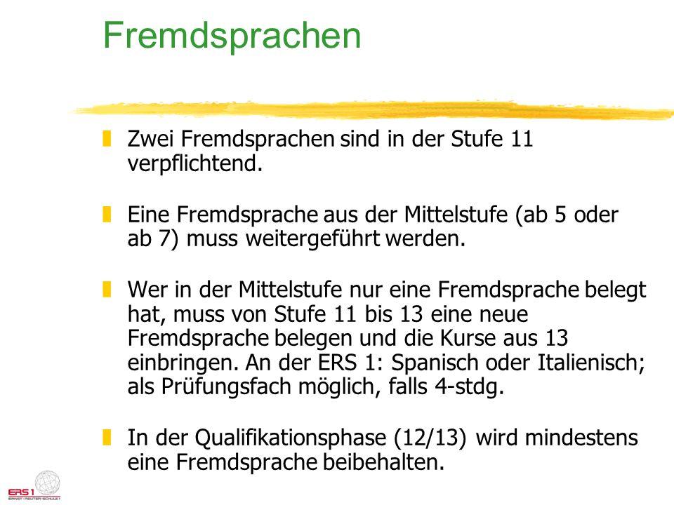 Fremdsprachen zZwei Fremdsprachen sind in der Stufe 11 verpflichtend. zEine Fremdsprache aus der Mittelstufe (ab 5 oder ab 7) muss weitergeführt werde