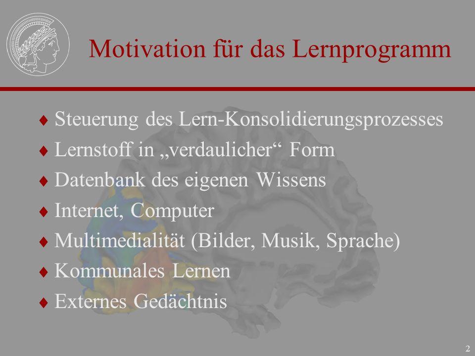 2 Motivation für das Lernprogramm Steuerung des Lern-Konsolidierungsprozesses Lernstoff in verdaulicher Form Datenbank des eigenen Wissens Internet, C