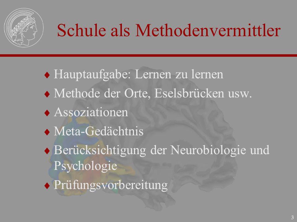 3 Schule als Methodenvermittler Hauptaufgabe: Lernen zu lernen Methode der Orte, Eselsbrücken usw. Assoziationen Meta-Gedächtnis Berücksichtigung der