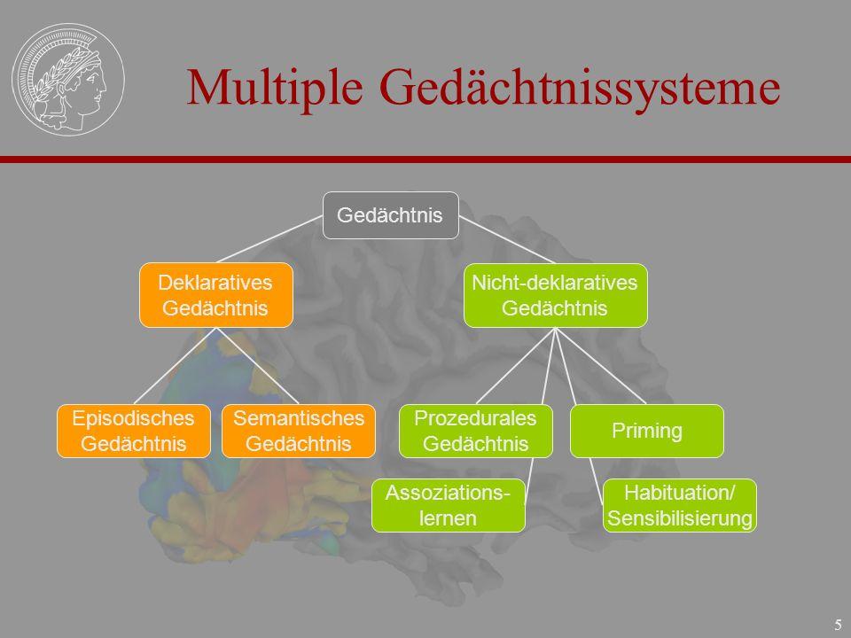 5 Multiple Gedächtnissysteme Gedächtnis Deklaratives Gedächtnis Nicht-deklaratives Gedächtnis Episodisches Gedächtnis Semantisches Gedächtnis Assoziat