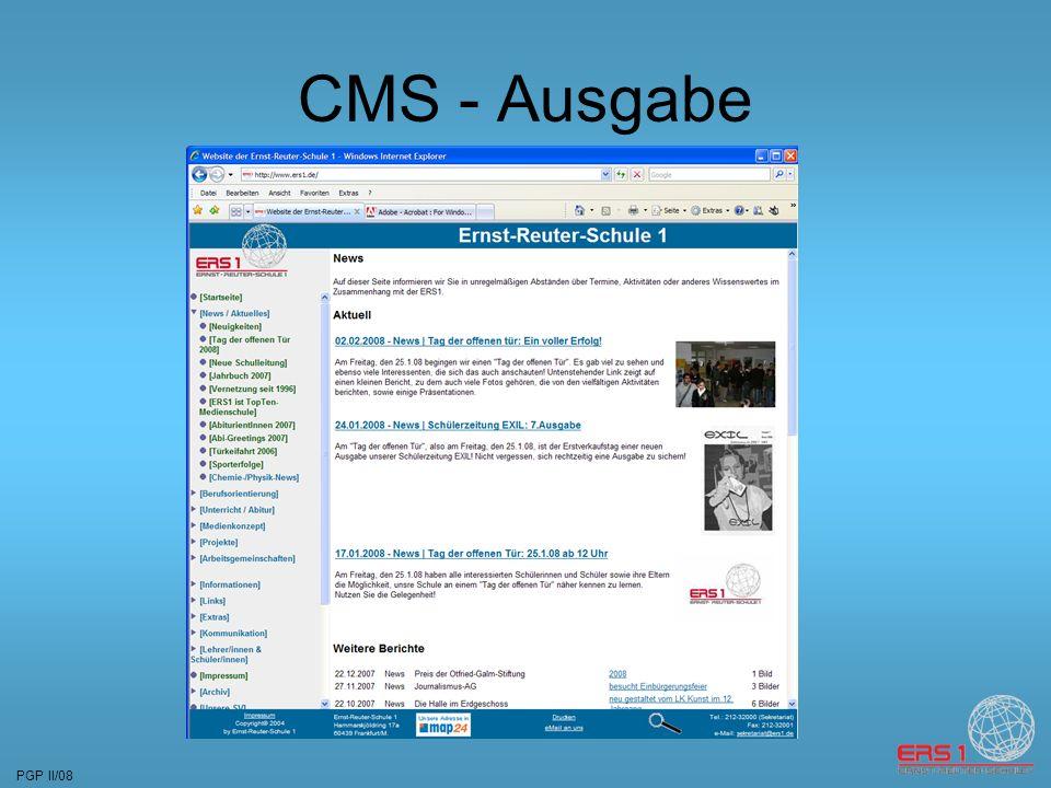 PGP II/08 CMS - Ausgabe