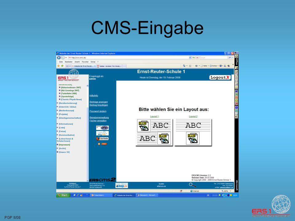 PGP II/08 CMS-Eingabe