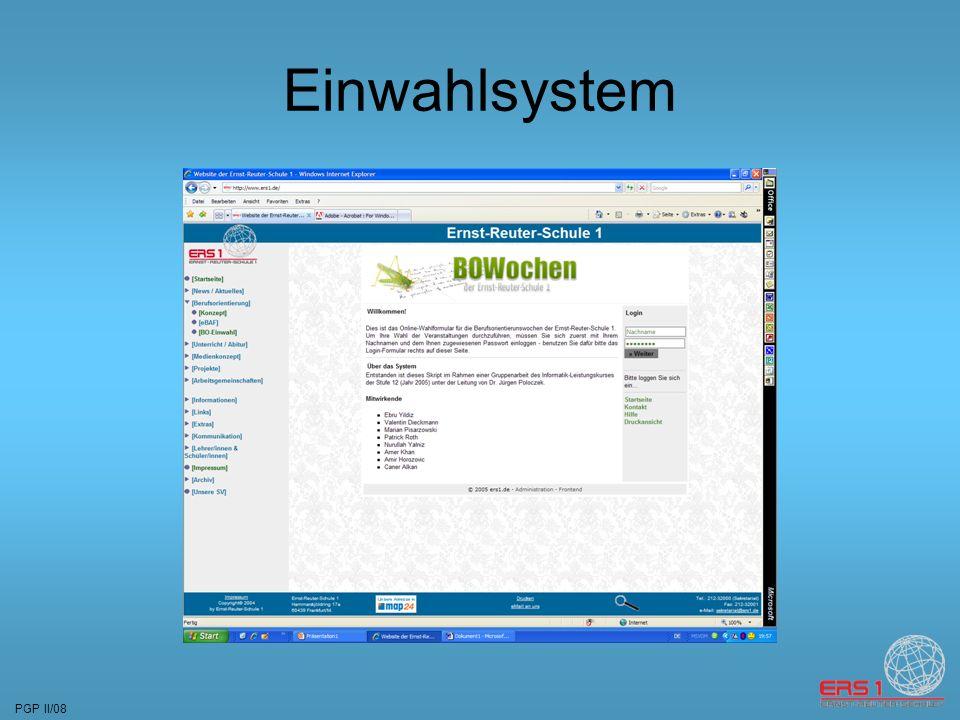 PGP II/08 Einwahlsystem