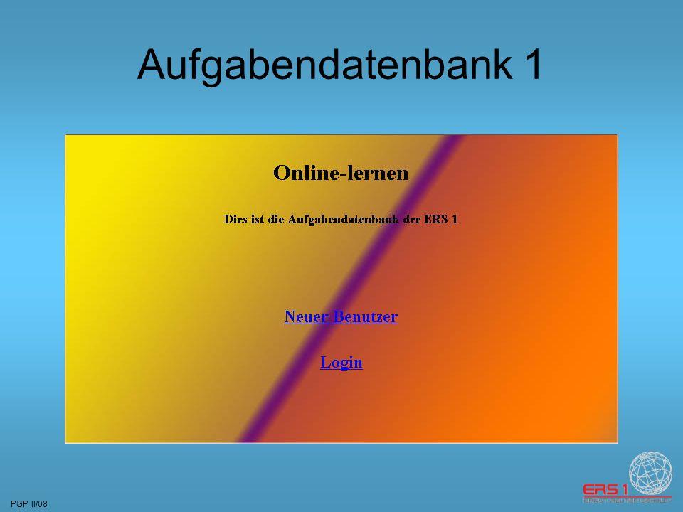 PGP II/08 Aufgabendatenbank 1