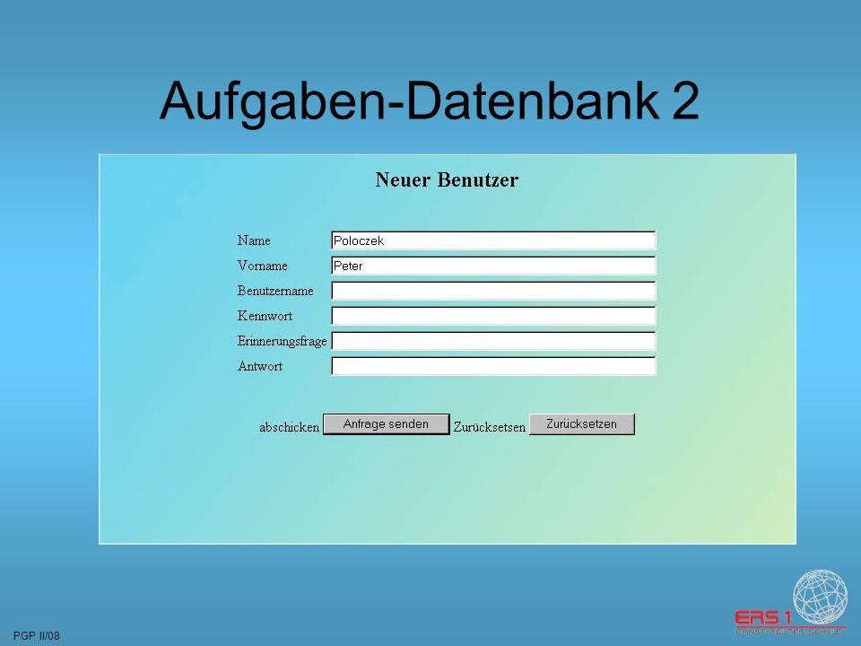 PGP II/08 Aufgaben-Datenbank 2