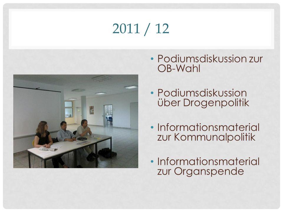 2011 / 12 Podiumsdiskussion zur OB-Wahl Podiumsdiskussion über Drogenpolitik Informationsmaterial zur Kommunalpolitik Informationsmaterial zur Organspende