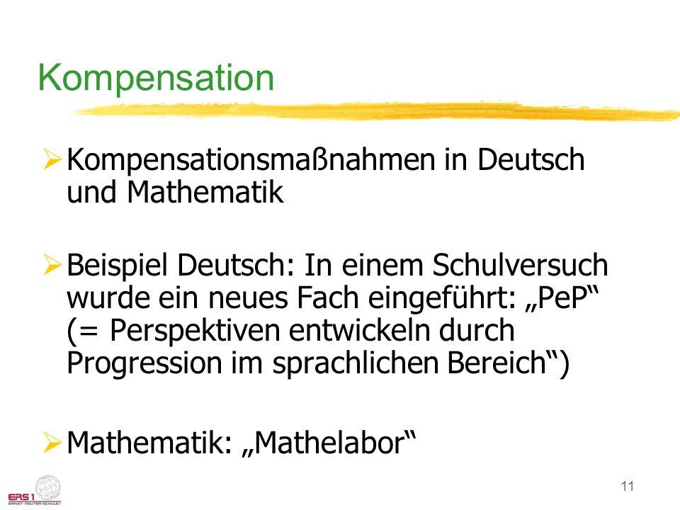 11 Kompensation Kompensationsmaßnahmen in Deutsch und Mathematik Beispiel Deutsch: In einem Schulversuch wurde ein neues Fach eingeführt: PeP (= Perspektiven entwickeln durch Progression im sprachlichen Bereich) Mathematik: Mathelabor