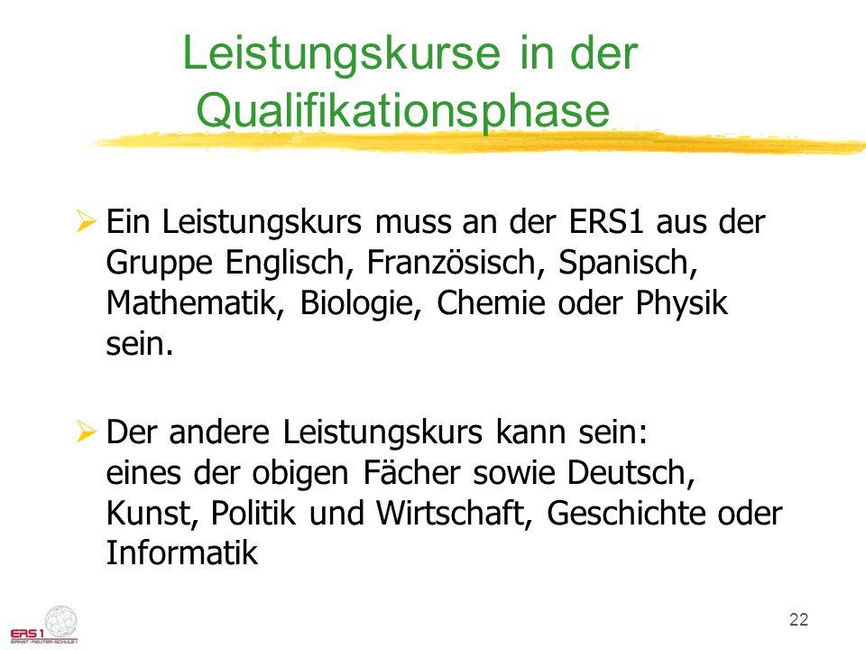 22 Leistungskurse in der Qualifikationsphase Ein Leistungskurs muss an der ERS1 aus der Gruppe Englisch, Französisch, Spanisch, Mathematik, Biologie, Chemie oder Physik sein.
