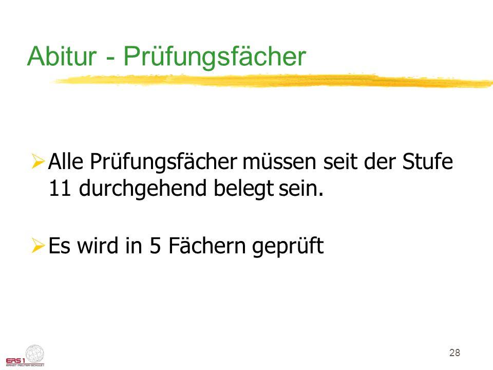 28 Abitur - Prüfungsfächer Alle Prüfungsfächer müssen seit der Stufe 11 durchgehend belegt sein.