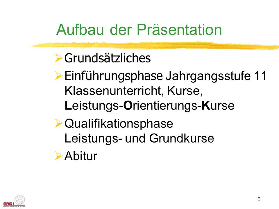 5 Aufbau der Präsentation Grundsätzliches Einführungsphase Jahrgangsstufe 11 Klassenunterricht, Kurse, Leistungs-Orientierungs-Kurse Qualifikationsphase Leistungs- und Grundkurse Abitur