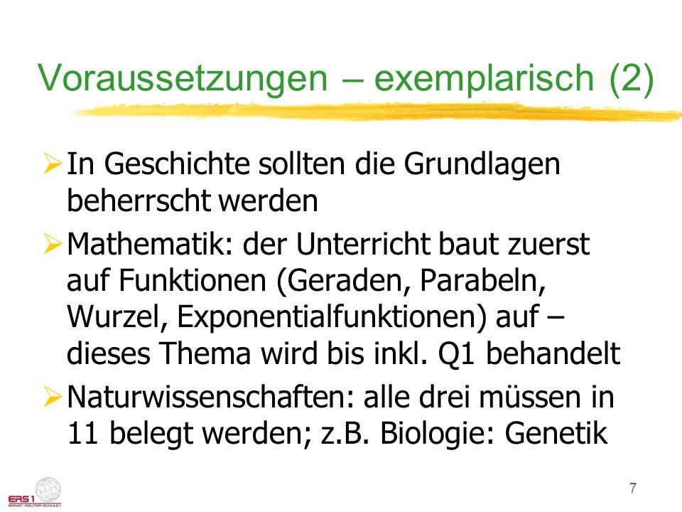 Voraussetzungen – exemplarisch (2) In Geschichte sollten die Grundlagen beherrscht werden Mathematik: der Unterricht baut zuerst auf Funktionen (Geraden, Parabeln, Wurzel, Exponentialfunktionen) auf – dieses Thema wird bis inkl.