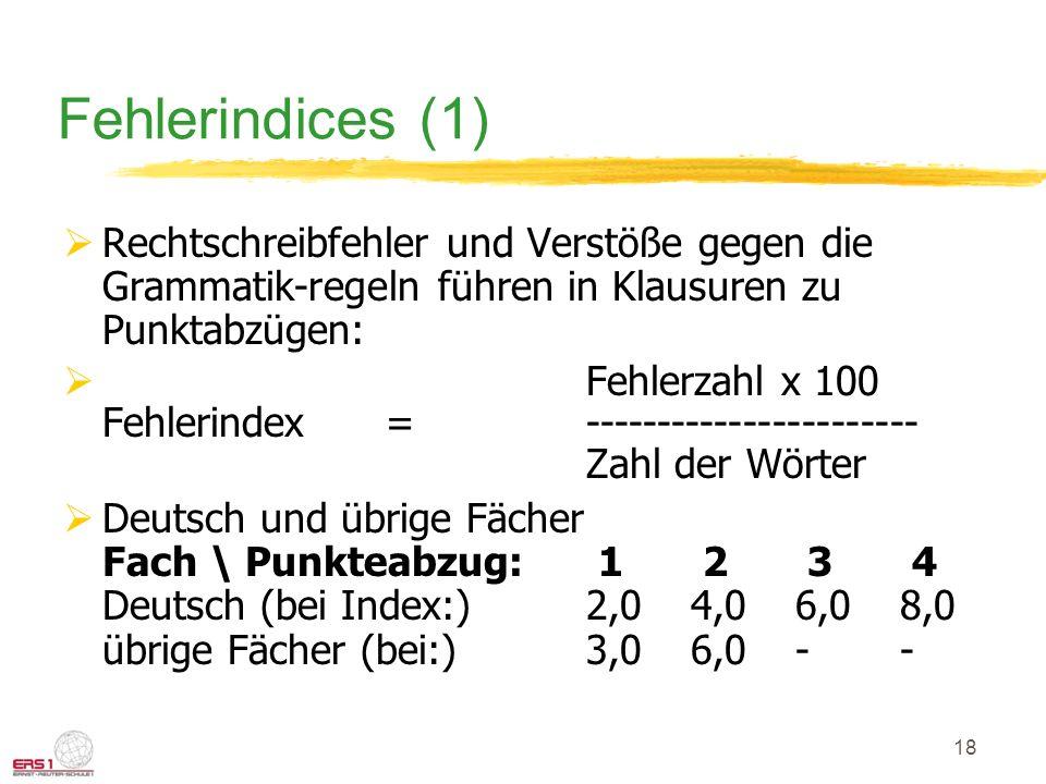 18 Fehlerindices (1) Rechtschreibfehler und Verstöße gegen die Grammatik-regeln führen in Klausuren zu Punktabzügen: Fehlerzahl x 100 Fehlerindex =----------------------- Zahl der Wörter Deutsch und übrige Fächer Fach \ Punkteabzug: 1 2 3 4 Deutsch (bei Index:)2,04,06,08,0 übrige Fächer (bei:)3,06,0--