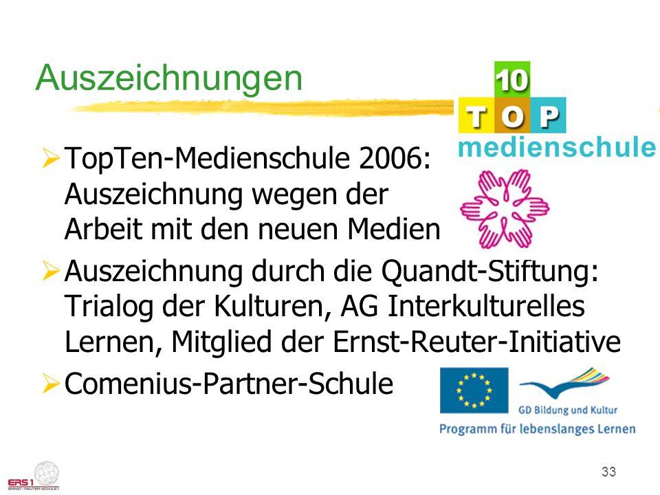 33 Auszeichnungen TopTen-Medienschule 2006: Auszeichnung wegen der Arbeit mit den neuen Medien Auszeichnung durch die Quandt-Stiftung: Trialog der Kulturen, AG Interkulturelles Lernen, Mitglied der Ernst-Reuter-Initiative Comenius-Partner-Schule