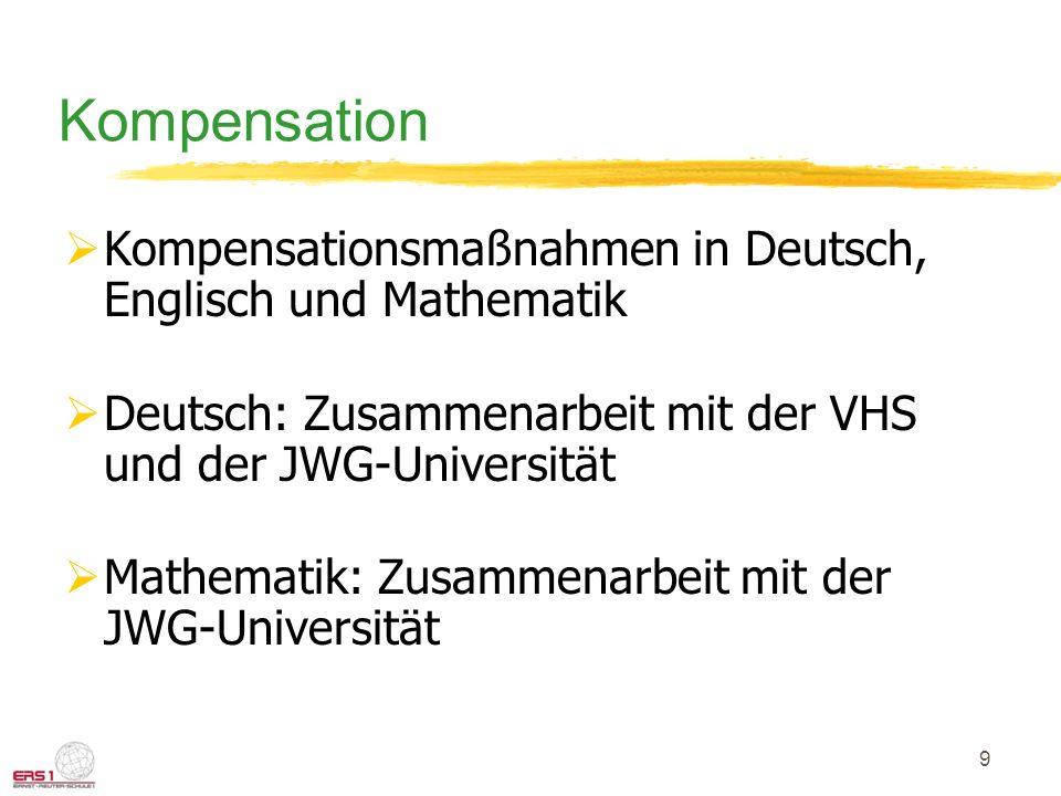 9 Kompensation Kompensationsmaßnahmen in Deutsch, Englisch und Mathematik Deutsch: Zusammenarbeit mit der VHS und der JWG-Universität Mathematik: Zusammenarbeit mit der JWG-Universität