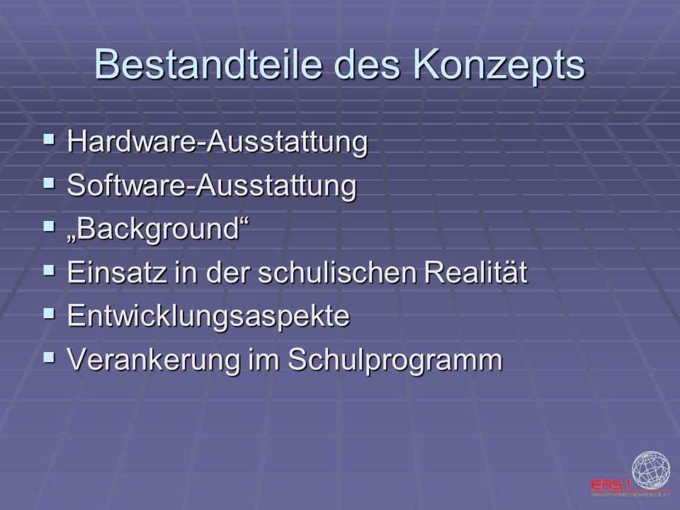 Bestandteile des Konzepts Hardware-Ausstattung Hardware-Ausstattung Software-Ausstattung Software-Ausstattung Background Background Einsatz in der sch