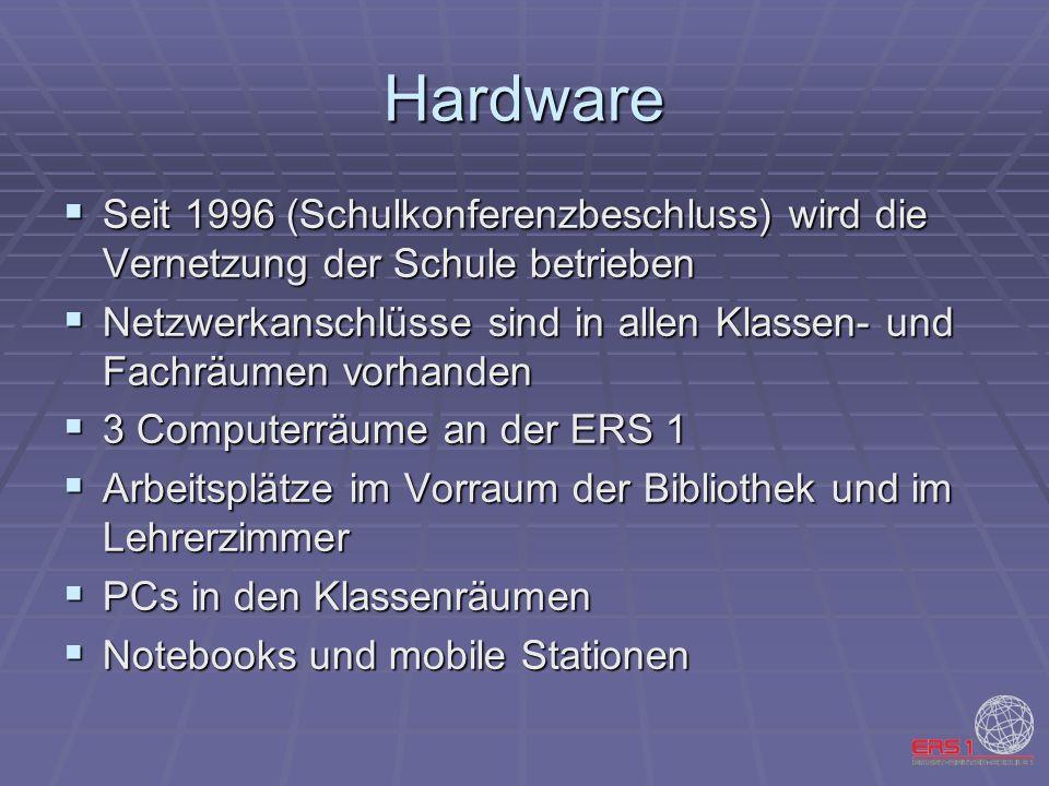 Hardware Seit 1996 (Schulkonferenzbeschluss) wird die Vernetzung der Schule betrieben Seit 1996 (Schulkonferenzbeschluss) wird die Vernetzung der Schu